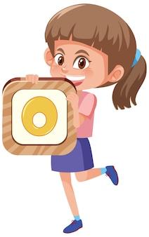 Студент девушка держит номер мультипликационный персонаж, изолированные на белом фоне