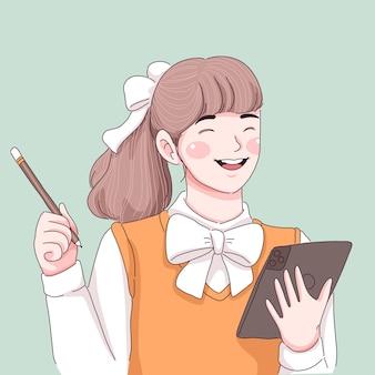Студент девушка иллюстрация
