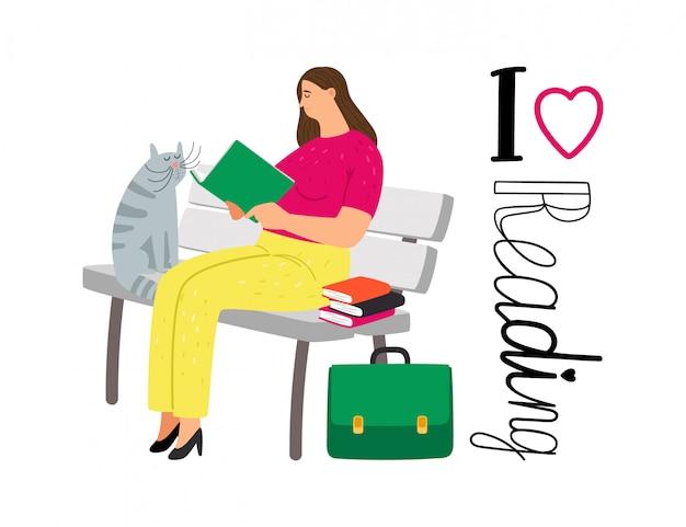 Студентка читает книги