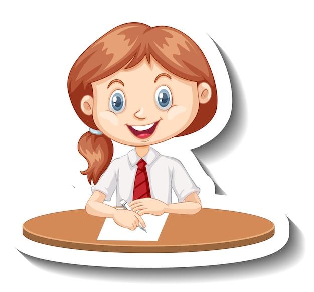 学生の女の子が机の漫画のステッカーに座る