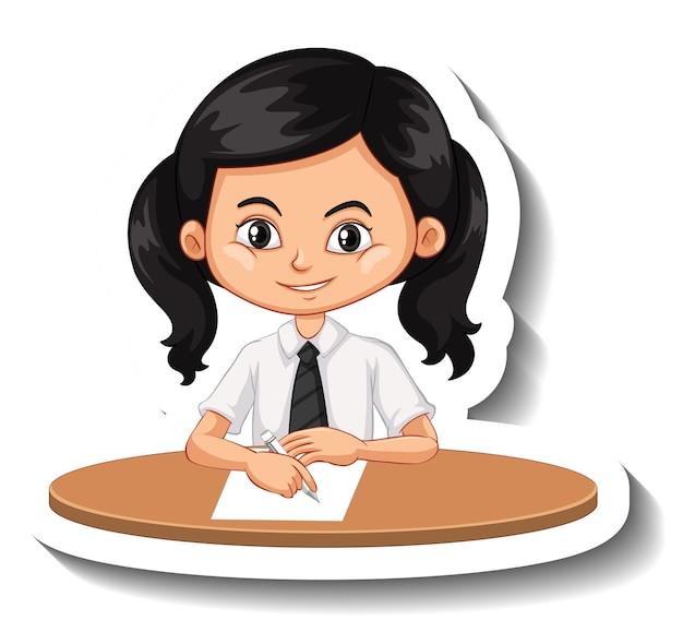 Студент девушка сидит за столом мультяшный стикер
