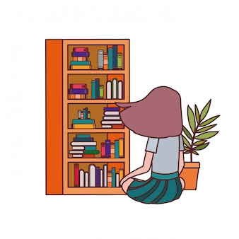 Student girl sitting on his back with stack of books