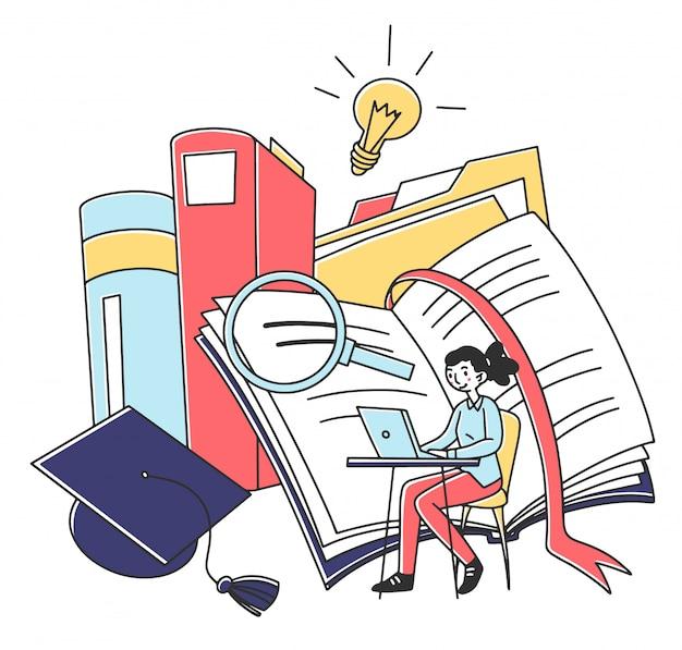 Student girl studying online