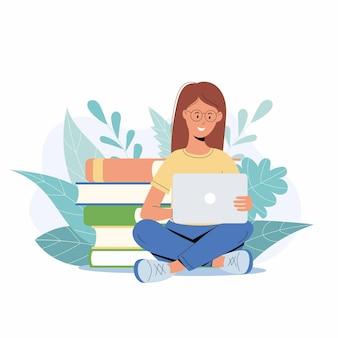 ノートパソコンで勉強している学生の女の子。本のスタックに座って、オンラインで知識を得ている若い女性。 eラーニング、インターネットコース、学校のコンセプトのイラスト
