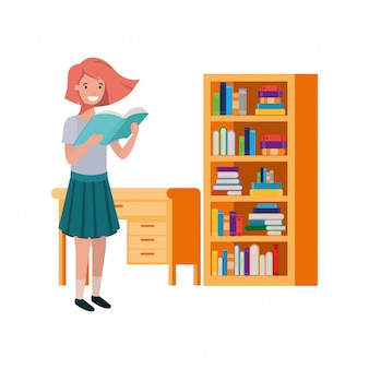 Student girl with reading book in the hands
