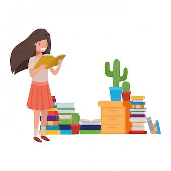 手の中の本を読んで学生少女
