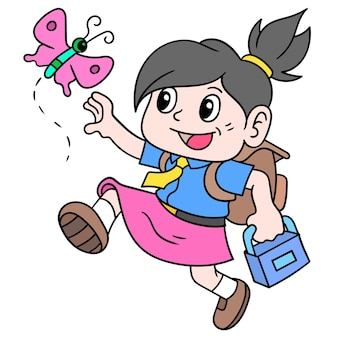 Student girls carrying bags happily to start school activities, doodle draw kawaii. illustration art