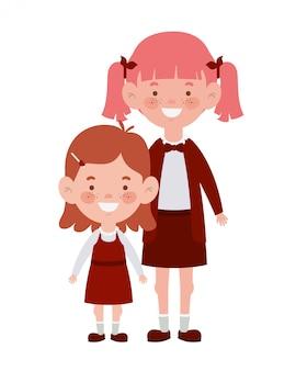 Student girls standing smiling