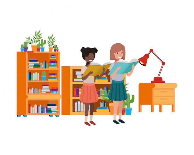 Student girls with reading book in the hands