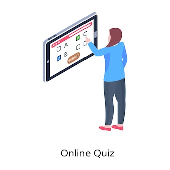 Student giving online quiz isometric vector