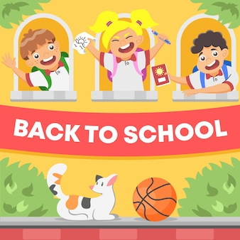Student going back to school illustration