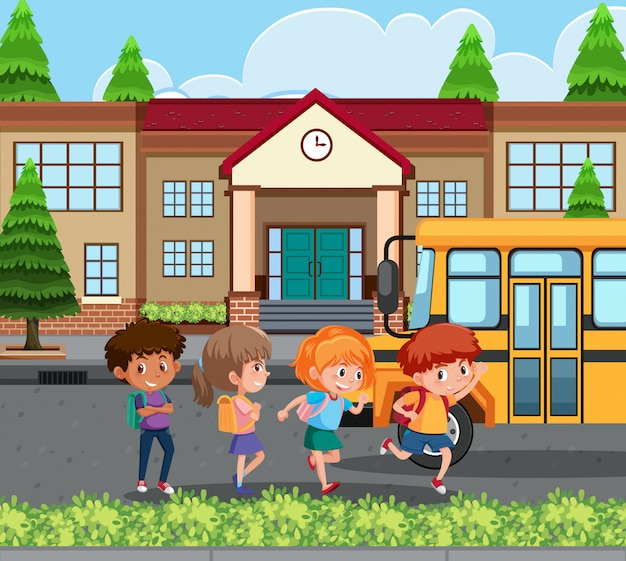 Student going home by school bus
