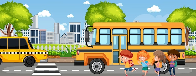 Student going to school by school bus