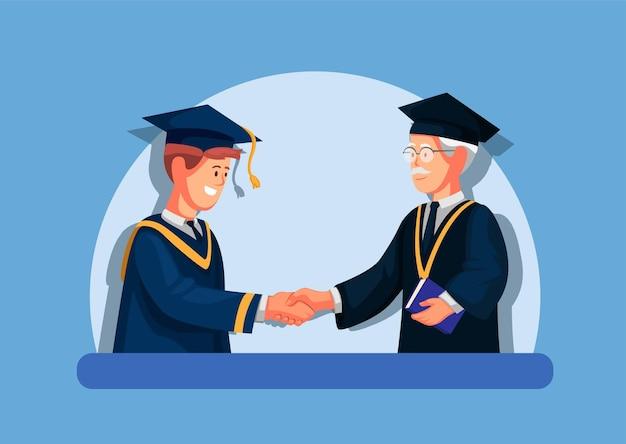 Student graduation in college academic concept in cartoon illustration