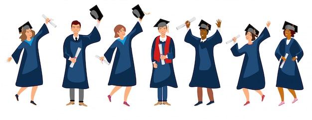 学生卒業セットイラスト。成人教育、男性と女性の卒業生のコンセプト。さまざまな国で幸せな学生。