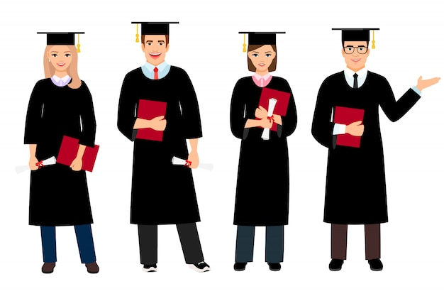 Student graduation set vector illustration. university female and male students graduate people isolated
