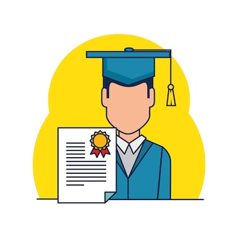 Student graduation with diploma