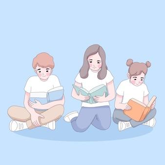 Student group are reading cartoon illustration.