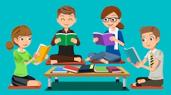 Student group reading attentively in public libraries