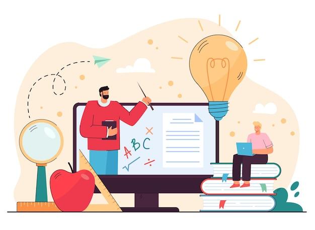Парень-студент учится в интернете, смотрит онлайн-лекцию на компьютере, разговаривает с репетитором по математике по видеосвязи. иллюстрации шаржа