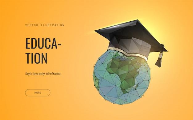 Студенческая шляпа на планете земля. абстрактная концепция мирового образования