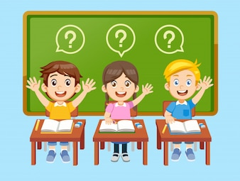 Student have a question in classroom.
