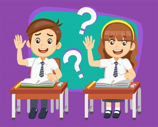 Student have a question in classroom lessons.