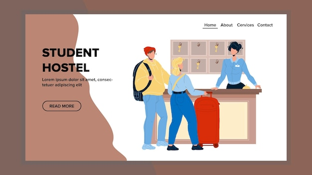 Student hostel arrive couple boy and girl vector. young people with luggage and backpack talk with student hostel administrator. characters visitors and worker web flat cartoon illustration