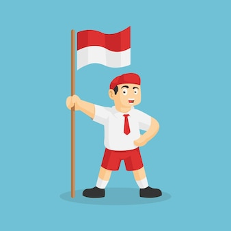 インドネシアの旗のイラストが立っているインドネシアの学生。独立記念日