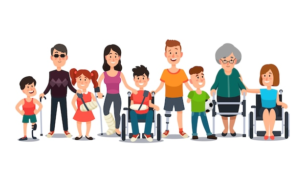 Student kid boy in wheelchair, man with disability and elderly on crutches cartoon flat
