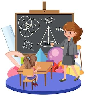 교실에서 수학을 기대고 있는 학생