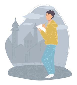 Студент учится рисовать городские пейзажи и горизонты. хобби человека, стоящего у замка или города. мужской персонаж по выходным рисует здание на ноутбуке. альбом для рисования в руках. вектор в плоском стиле