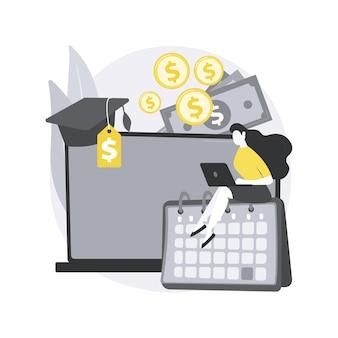 학생 대출 지불 연기 추상 개념 그림.