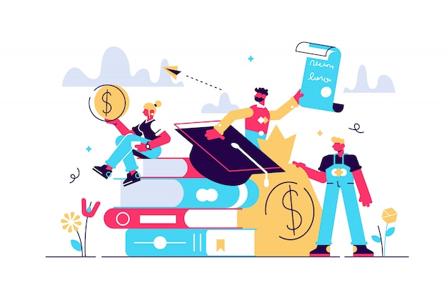 学生ローンのイラスト。小さな研究金融人の概念。