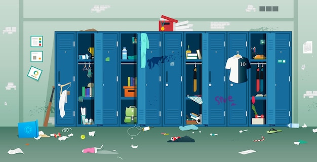 Student lockers with dirty and disorganized rubbish Premium Vector