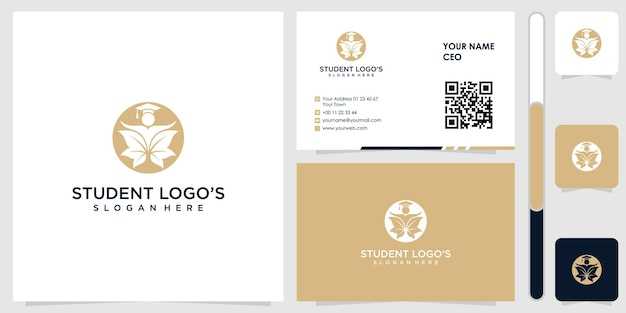 Student logo with business card design vector premium