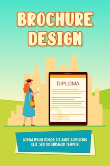 Student looking at electronic diploma on gadget screen. graduation cap, gown, tablet flat vector illustration