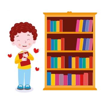 ブックシェルフの教室のベクトル図の近くに学生の愛の本