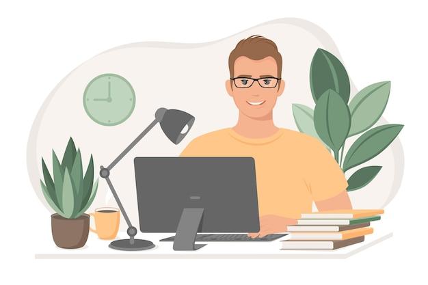 学生男性は自宅で働くフリーランサーのオンラインコースを使用して学習します