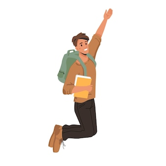 Student merrily leaps or jumps with fists up passed exams successfully man