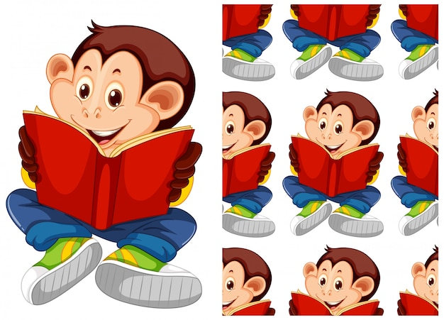 Student monkey animal pattern cartoon