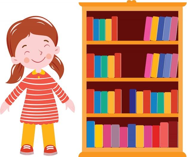 本棚教室の近くの学生のベクトル図