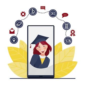 졸업식 동안 전화 화면에 학생