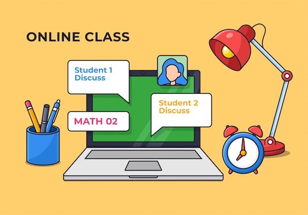 Student online class starter pack desk setup for modern education digital schooling illustration