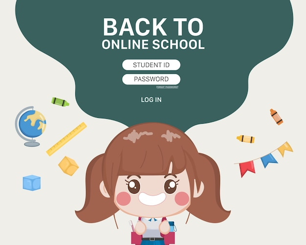 Student online school education log-in template.