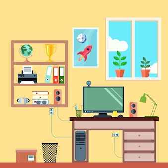 Рабочее место студента или внештатного рабочего в квартире интерьера комнаты