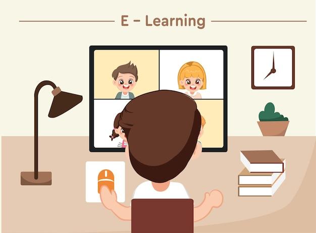집에서 컴퓨터로 공부하는 학생이나 학교 소년. 온라인 수업 및 교육 벡터 개념입니다.