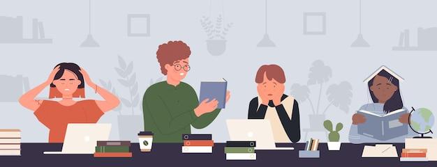 学生の人々は、試験に疲れた十代の若者たちのキャラクターが学習過程で勉強する前に一生懸命学びます