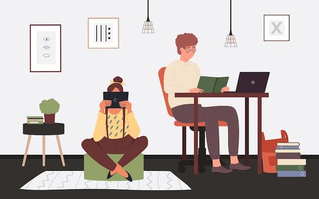 学生の人々は、眼鏡をかけたホームルームのインテリアの男の子と座って読んでいる女の子で勉強します