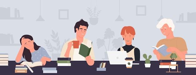 学生の人々は、ラップトップや本を持ってテーブルに座っている教育の男の子の女の子を働いて勉強します